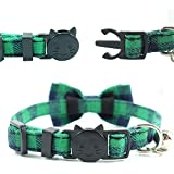 Cat Collar Breakaway with Bell and Bow Tie, Plaid
