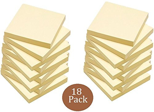 1InTheOffice Yellow Sticky Notes, 3 x 3 Yellow self stick sticky notes 18/Pack OF 100= 1800 notes pads