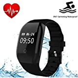 Fitness Tracker HR, REDGO Activity Tracker Watch with Heart Rate Monitor, Swimming Waterproof Smart Bracelet Calorie Counter Pedometer, Unisex Sport Wristband Watches, Black