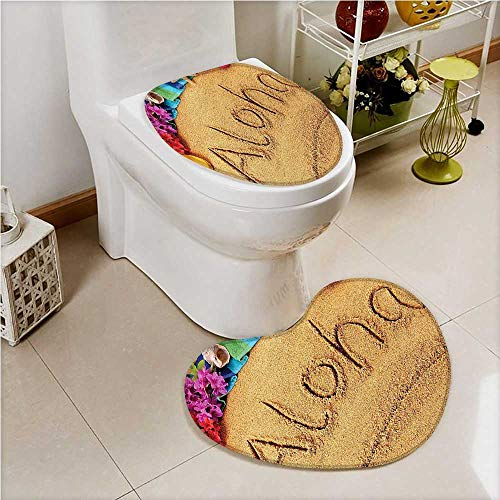 PRUNUS 2 Piece Toilet lid cover mat set Memories Sunny Sand Hawaii Wall Art for Bedroom Hanging Sand Soft Shaggy Non Slip by PRUNUS