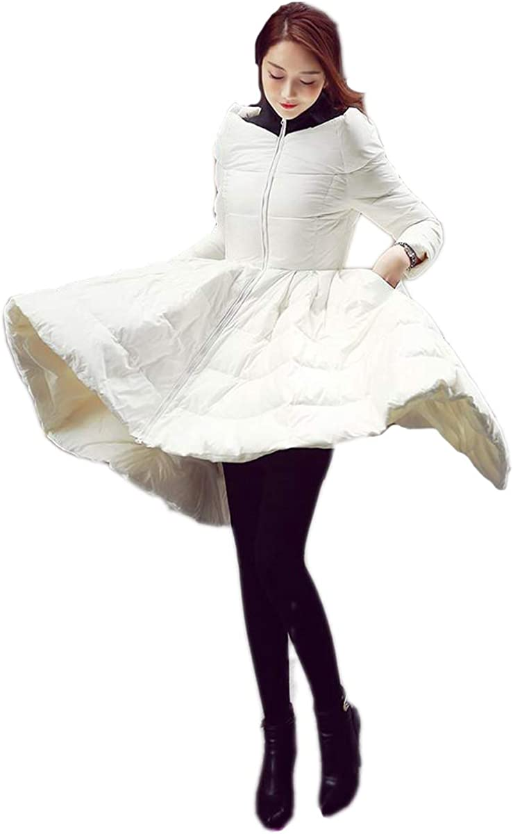 Ursfashion Womens White Duck Down Long Jacket Coat High Waist Elegant Dress Style