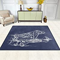 DEYYA Contemporary Area Rug Rugs Passenger Jet Plane Flying Non-Slip Floor Mat Doormats for Living Room Bedroom 63 x 48 inches