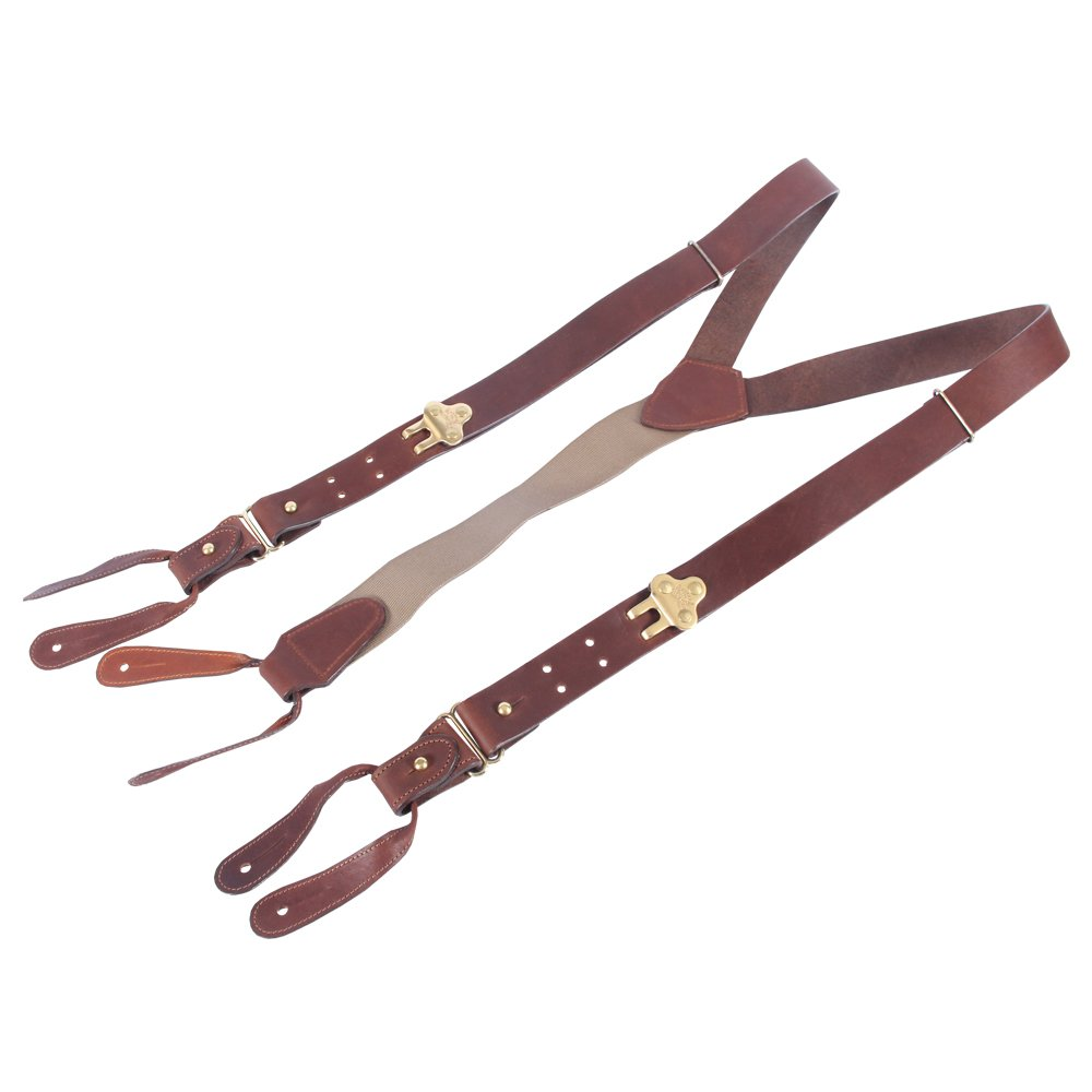 Leather Suspenders Braces Adjustable Design Brown Brass Button on No. 1 USA Made
