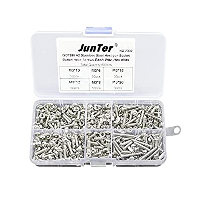 600pcs M3 (3mm) A2 Stainless Steel Button Head Hex Socket Screws Allen Bolts ISO7380 With Nylon Lock Nuts Assortment Kit NO.2302