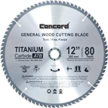 Concord Blades WCB1200T080HP 12-Inch 80 Teeth TCT General Purpose Hard & Soft Wood Saw Blade