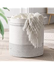 """Goodpick Cotton Rope Basket, 18""""×16"""" Large Laundry Hamper Basket Woven Wicker Basket for Throws Pillows Storage Bin with Handles Blanket Basket for Living Room Toy Basket for Nursery Décor"""
