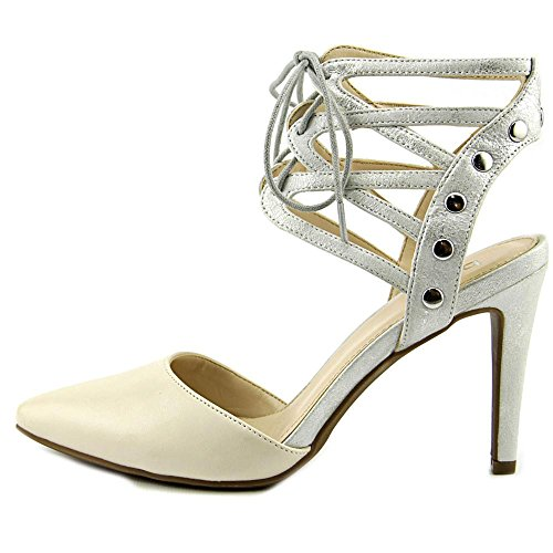 Bar III Womens Janet Pointed Toe Slingback D-Orsay Pumps White/Silver acPVjsG