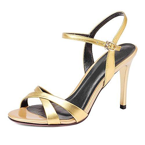 Slingback Toe Zapatos Corte Sandalias Noche De De Baile Mujeres Tacón Las Fiesta De Peep Hebillas De Vestido De Gold Verano De Alto Zapatos Sandalias vvOraq