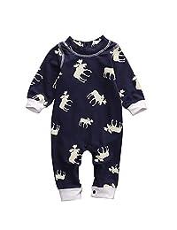 Newborn Baby Girl Boy Romper Deer Pajamas Bodysuit One-piece Outfits