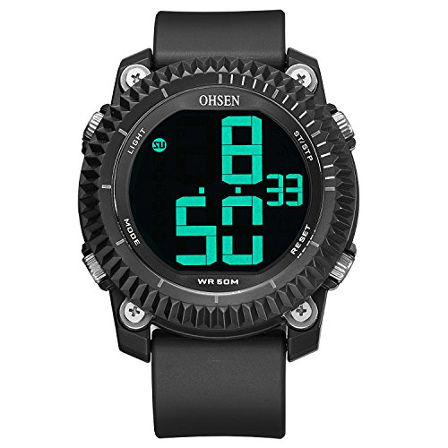Mens Fashion Sport Watches, Alarm and Stopwatch Waterproof Digital Wristwatch Black