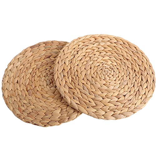 (Ecomia Natural Water Hyacinth Woven Round Placemats Braided Rattan Handmade Tablemats – Multipurpose Usage and Heat Resistant Hot Insulation Anti-Skidding Pad (Round (11.8 inches), Placemat Set 2))