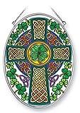 Stained Glass Suncatcher 5.5'' X 7'' Celtic Knot Cross Irish