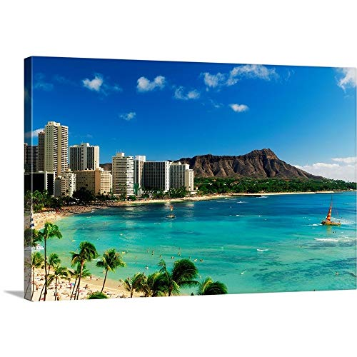 Panoramic Images Solid-Faced Canvas Print Wall Art Print Entitled Hotels on The Beach, Waikiki Beach, Oahu, Honolulu, Hawaii 30