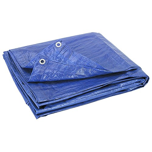 Blue Multi-Purpose 6-Mil Waterproof & UV Resistant 8ft x 10ft Poly Tarp Cover for Tents, Camping Shelter Tarpaulin, Wind Protectors, Garden & Furniture by ENQARGO