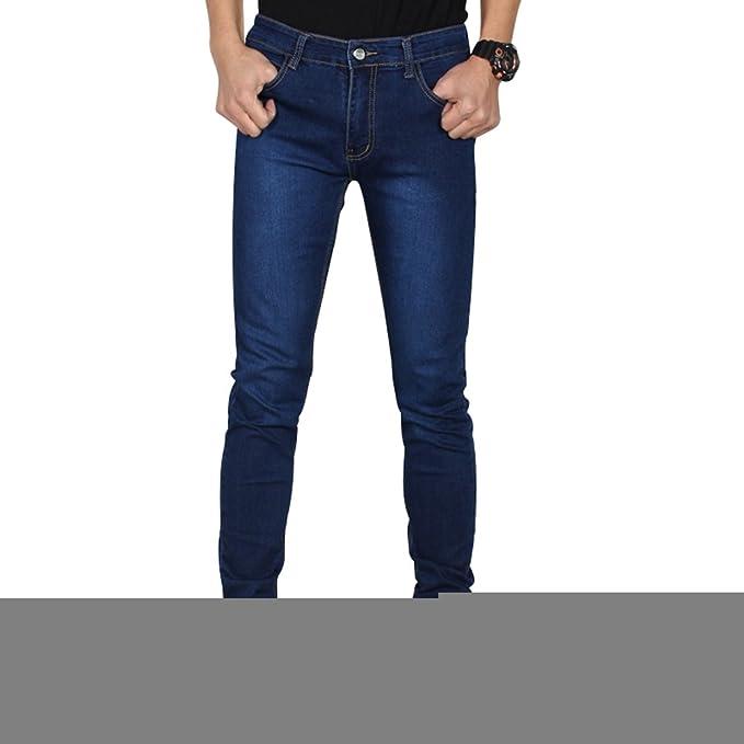 0c38403d3b70 YuanDian Uomo Primavera Estate Casuale Jeans Alla Moda Stretch Gamba Dritta  Slim Fit Morbido Denim Pantaloni