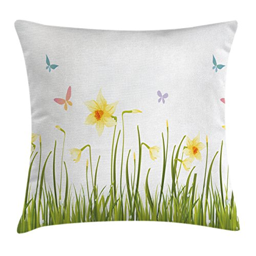 Ambesonne Daffodils Throw Pillow Cushion Cover, Daffodil Field with Butterflies Meadow and Grass Springtime Park Easter Print, Decorative Square Accent Pillow Case, 16 X 16 Inches, Yellow - Throw Springtime