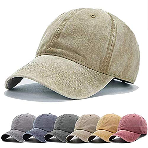 Unisex Vintage Washed Distressed Baseball Cap Twill Adjustable Dad Hat,B-khaki,One - Fit Baseball One Black Hat