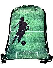 HECKBO® Jongens Meisjes Kids Gymtas - Voetbalmotief - machinewasbaar - 40x32cm - voor kleuterschool, school, sport - rugzak, schoenentas, tas, sporttas, voetbaltas