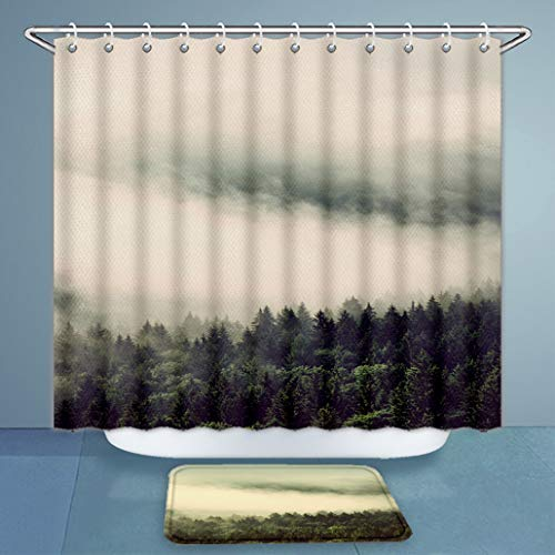 3D Print Shower Curtains and Bath Rugs Set Evergreen Forests On Mountain Slopes Enveloped in Low Lying Cloud for A Dreamy Landscape Vert Bath Curtains and Doormats Suit for Bathroom 66