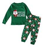 Koola's Kid Christmas Pajamas Cotton Green Santa Toddler Clothes Children Sleepwear