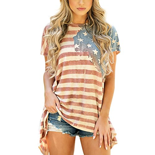 Little Hand Women American Flag T Shirt Stripes Short Sleeve Stars USA Independence Day Top
