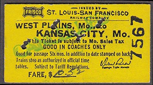 Frisco St Louis-San Francisco Ry RR ticket West Plains-Kansas City MO 1967