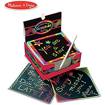 "Melissa & Doug Scratch Art Box of Rainbow Mini Notes, Arts & Crafts, Wooden Stylus, 125 Count, 3.75"" H x 3.75"" W x 1.75"" L"
