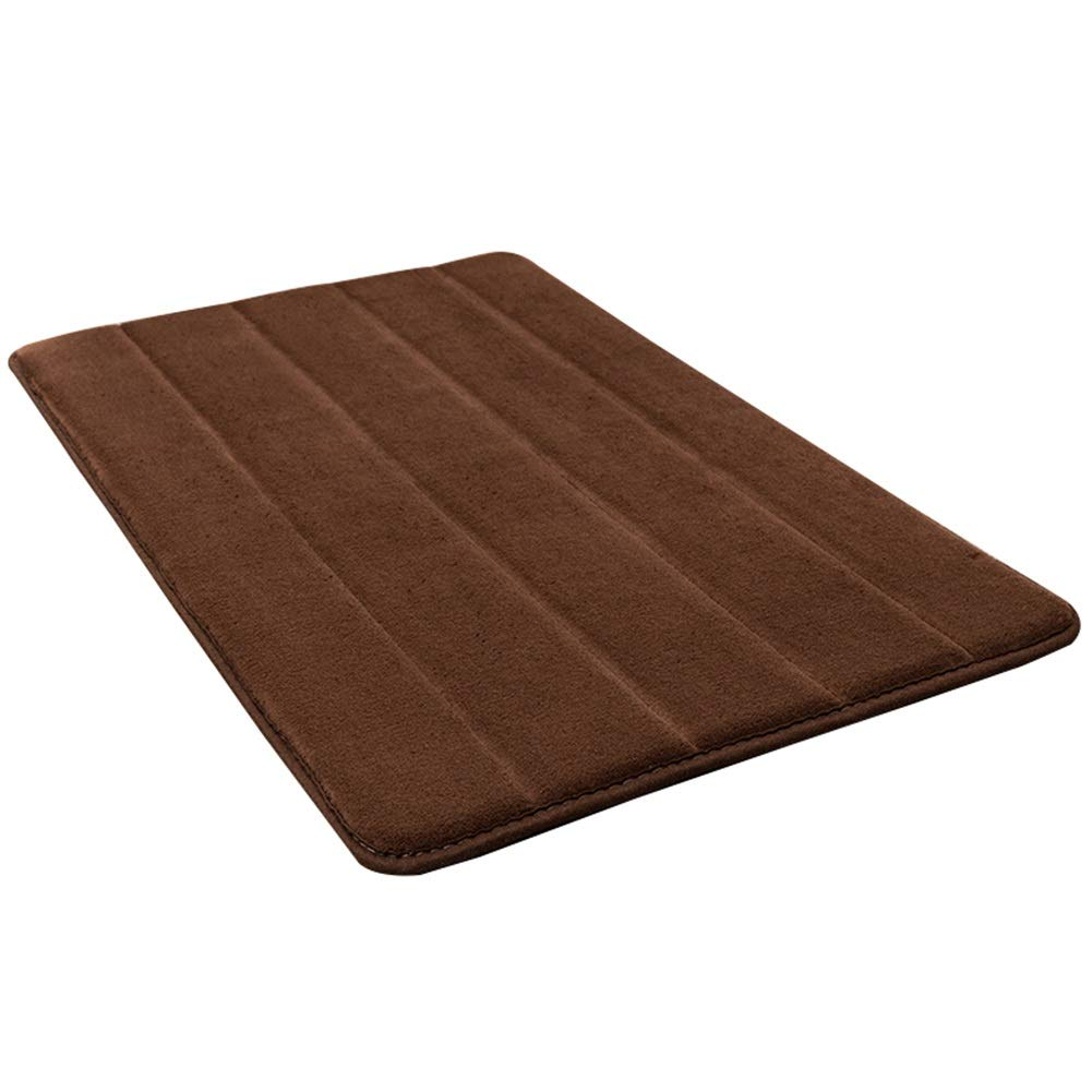 WHAIYAO Bathroom Mat Coral Velvet Fabric High Resilience Sponge Strong Water Absorption Non-Slip Bottom, 5 Colors, 2 Sizes (Color : Brown, Size : 60X40cm)