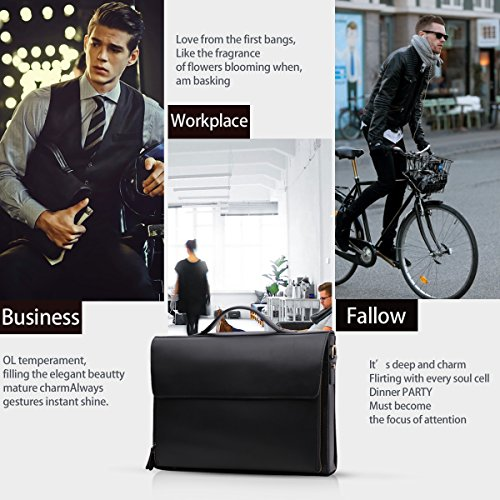 Leathario Leather Briefcase for Men Leather Laptop Bag Shoulder Messenger Bag Business Work Bag by Leathario (Image #5)