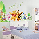 Winnie The Pooh Grass Wall Stickers For Kids Rooms Nursery Wall Stickers Decorative Stickers