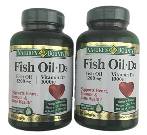 2-Pack Natures Bounty Fish Oil (1200 mg) Plus Vitamin D3 (1000 IU) 90 Rapid Release Softgels (180 softgels total)
