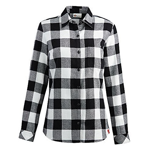 Dickies Black And White (Dickies Big Girls' Long Sleeve Flannel Shirt, Opaque White Black Plaid, XL)