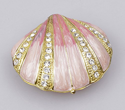 - Collectible Pink Seashell Ring Jewelry Holder Trinket Box Engagment Ring Box in Seashell Shape(Pink)