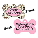 Cute Bones and Paws Pet Id Dog Tag Personalized For Your Pet (Pink)