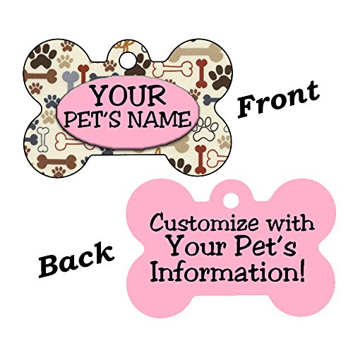 Cute Bones and Paws Pet Id Dog Tag Personalized For Your Pet (Pink) by uDesignUSA