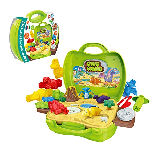 Clay Dinosaur Toys Set for Kids - Magic Modeling Clay 26 Pieces - Safe & Non Toxic 3D Dinosaur Figures for Kids - for Boys and Girls Age 3-12 Years Old (Molds Clay 3d)