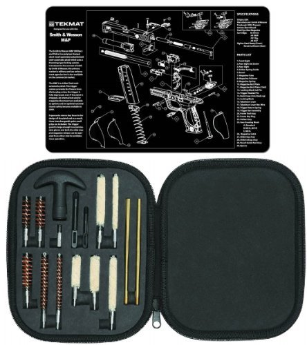 Ultimate Arms Gear Gunsmith & Armorer's Cleaning Work Bench Gun Mat S&W Smith & Wesson M&P + Professional Tactical Cleaning Tube Chamber Barrel Care Supplies Kit Deluxe 17 pc Handgun Pistol Cleaning Kit in Compact Molded Field Carry Case for .22 / .357 / .38 / 9mm / .44 / .45 Caliber Brushes, Swab, Slotted Tips and Patches - Gunsmith Wesson