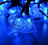 Rextin 20ft 30 LED Bell Outdoor Solar String Lights Blue Waterproof for Garden Patio Fence Path Landscape Wedding Party Christmas Decoration (Blue)
