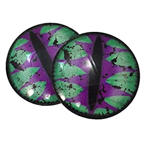 Purple and Teal Green Big 40mm Dragon Eyes Glass Covered Cabochons for Fantasy Art Doll Taxidermy Sculptures or Jewelry Making Crafts