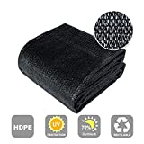 Agfabric 70% Sunblock Shade Cloth Cover with Clips for Plants 10' X 12', Black