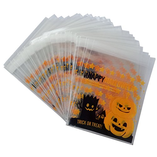 Yunko 100pcs Happy Halloween Pumpkin Cookie Packaging Self-adhesive Plastic Bags for Biscuits Package -