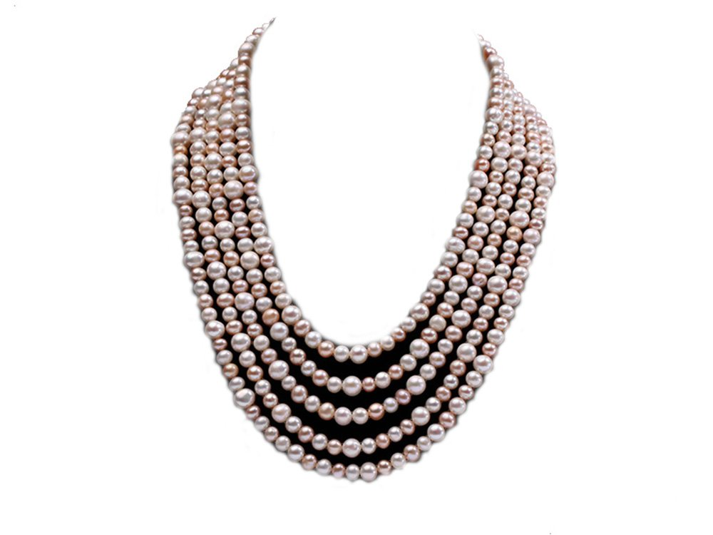JYX Pearl Necklace 5-strand White and Pink Freshwater Pearl Necklace