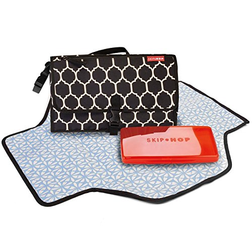 Skip Hop Baby Pronto Portable Changing Station with Cushioned Changing Mat and Wipes Case, 3 Pockets, Black Onyx Tile