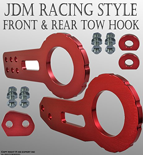 - ICBEAMER Racing Style Anodized CNC Aluminum Tow Hook Kit Come with Front and Rear Tow Hook Screw [Color: Red] 1 Set