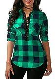 KISSMODA Womens Deep V Neck Slim Fit Pullover Roll up Sleeves Tops and Blouses Green Medium