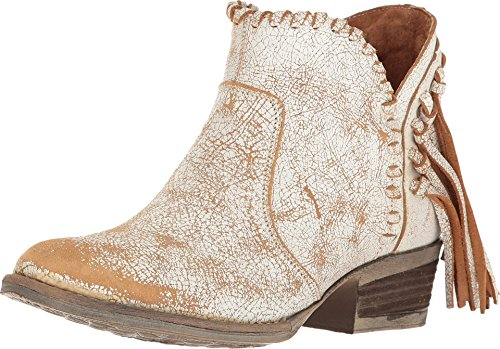 - Corral Urban Women's Back Fringe Braided Top Distressed White Leather Shortie Cowboy Boots