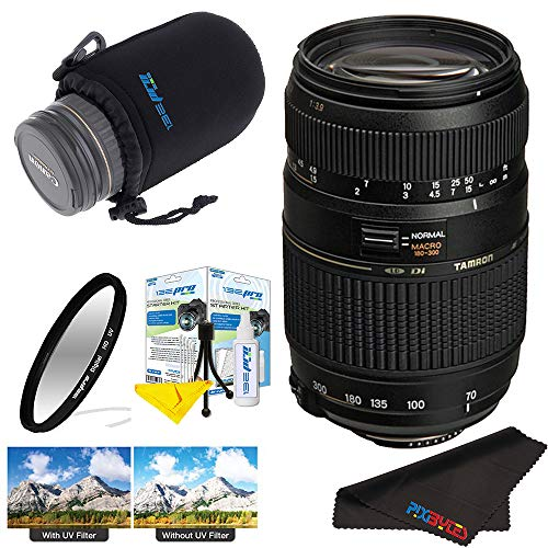- Tamron AF 70-300mm f/4.0-5.6 Di LD Macro Zoom Lens with Built in Motor for Nikon Digital SLR Cameras + Pixi-Basic Accessory Bundle