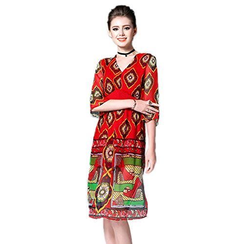 Print Elegant Sleeve 3 4 Dresses Silk Women's Formal cotyledon Fit V Neck Dress Slim xR4UvPw4q