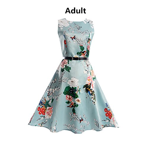 New Vintage Vintage Printing Sleeveless Lady Dress, SanCanSn Casual Bodycon Evening Party Prom Swing Dress (Green,2XL) by SanCanSn Dress