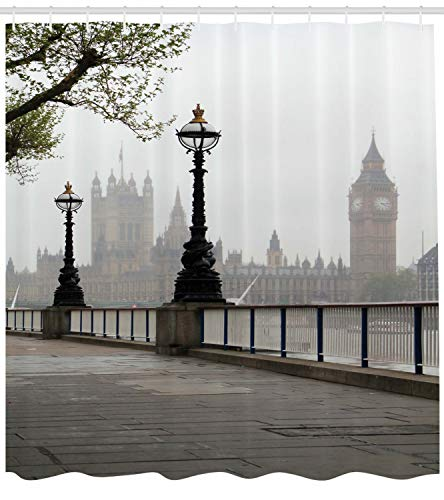 """Ambesonne London Shower Curtain, Big Ben View from The Street Palace of Westminster Touristic Britain, Cloth Fabric Bathroom Decor Set with Hooks, 70"""" Long, Foggy Grey"""
